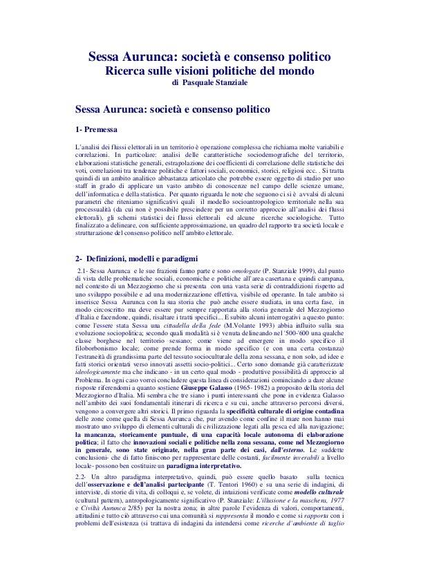 Sessa Aurunca: società e consenso politico           Ricerca sulle visioni politiche del mondo                            ...