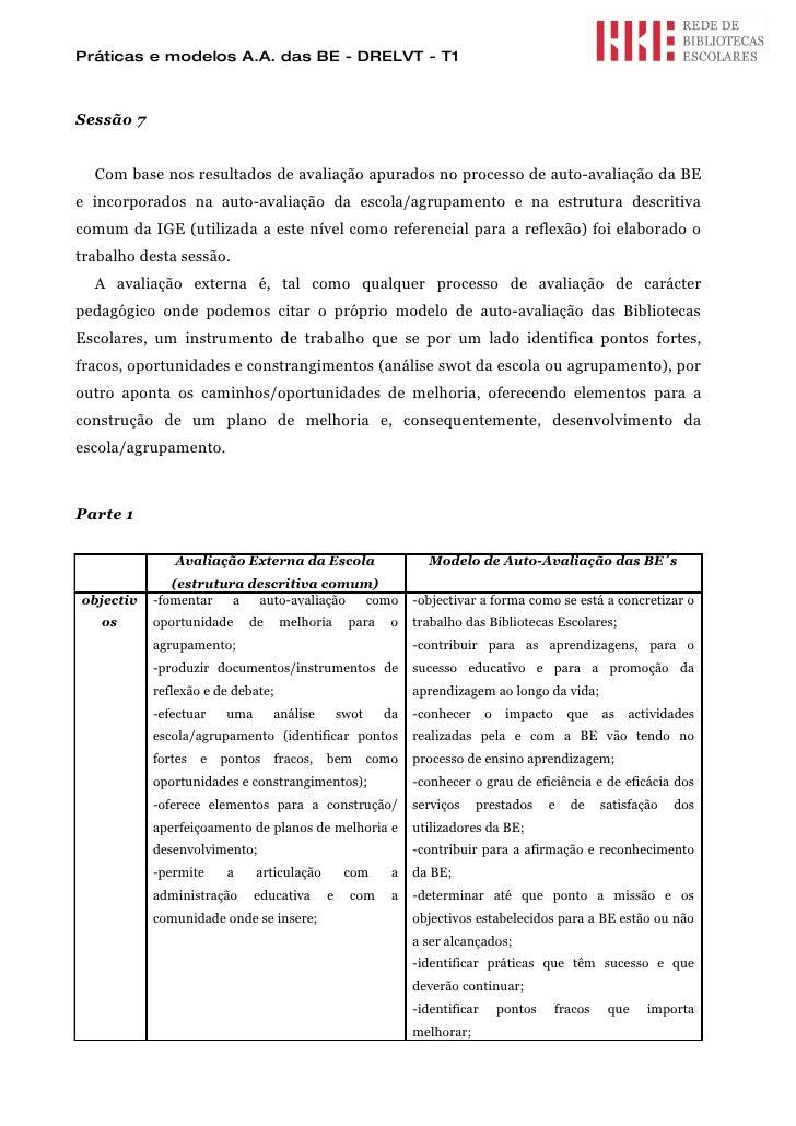 Práticas e modelos A.A. das BE - DRELVT - T1    Sessão 7     Com base nos resultados de avaliação apurados no processo de ...