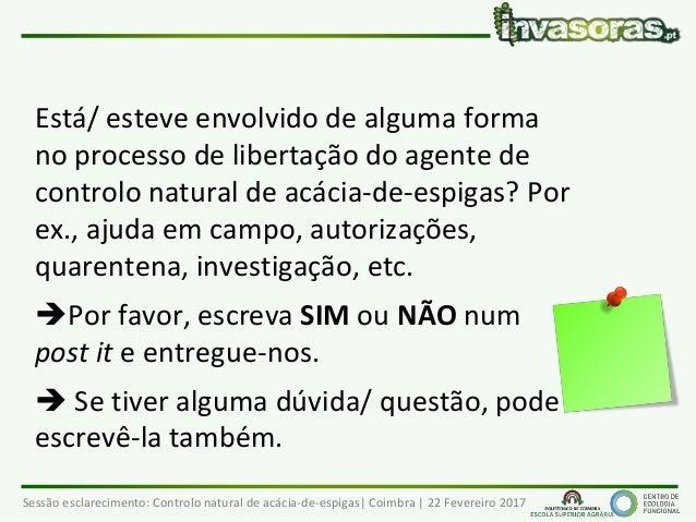 Sessão esclarecimento: Controlo natural de acácia-de-espigas  Coimbra   22 Fevereiro 2017 Está/ esteve envolvido de alguma...