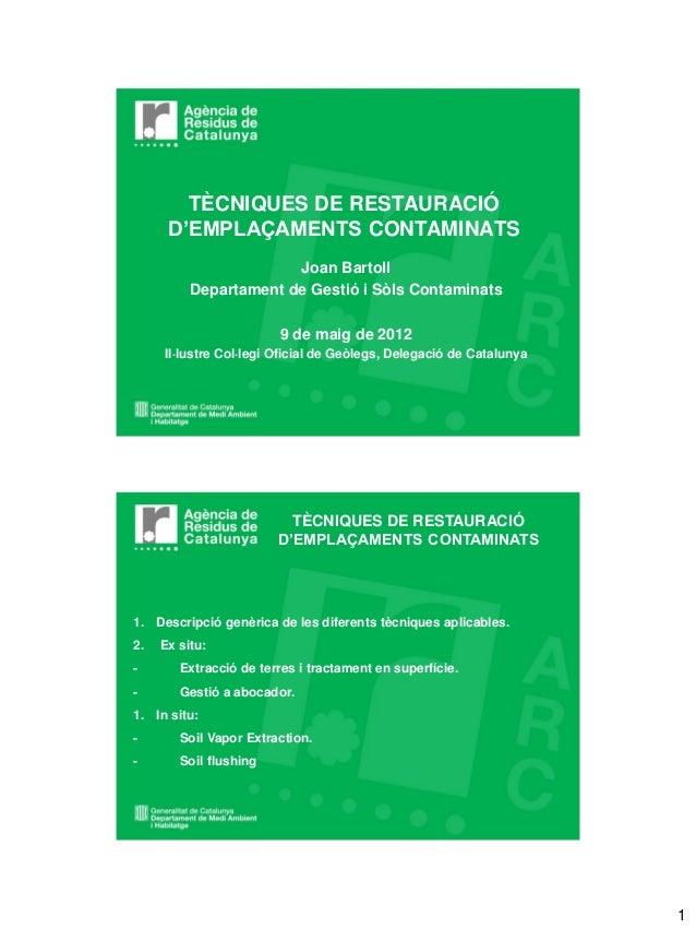 TÈCNIQUES DE RESTAURACIÓ      D'EMPLAÇAMENTS CONTAMINATS                       Joan Bartoll          Departament de Gestió...