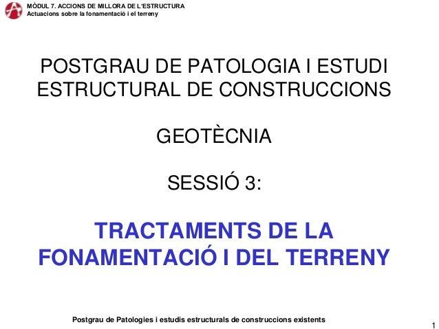 MÒDUL 7. ACCIONS DE MILLORA DE L'ESTRUCTURAActuacions sobre la fonamentació i el terrenyPostgrau de Patologies i estudis e...
