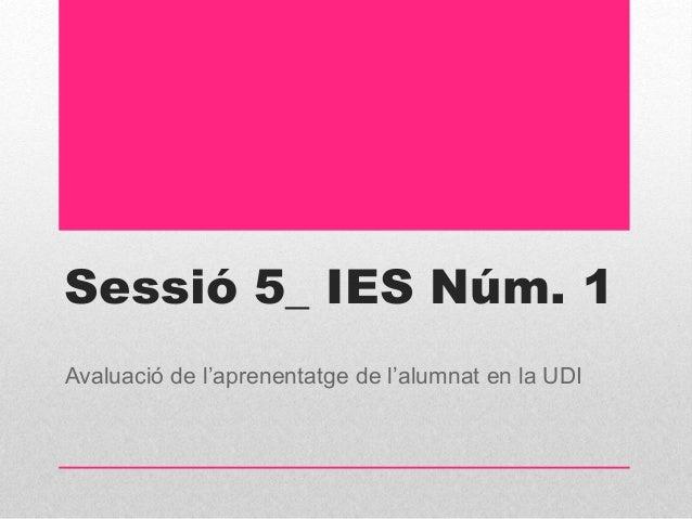 Sessió 5_ IES Núm. 1 Avaluació de l'aprenentatge de l'alumnat en la UDI
