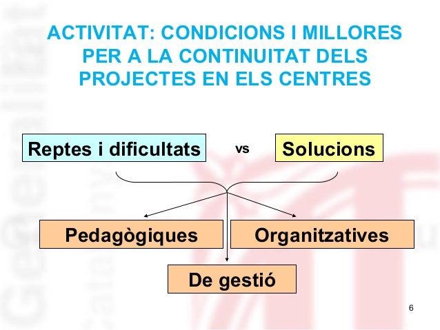 6 ACTIVITAT: CONDICIONS I MILLORES PER A LA CONTINUITAT DELS PROJECTES EN ELS CENTRES Reptes i dificultats Solucionsvs Ped...
