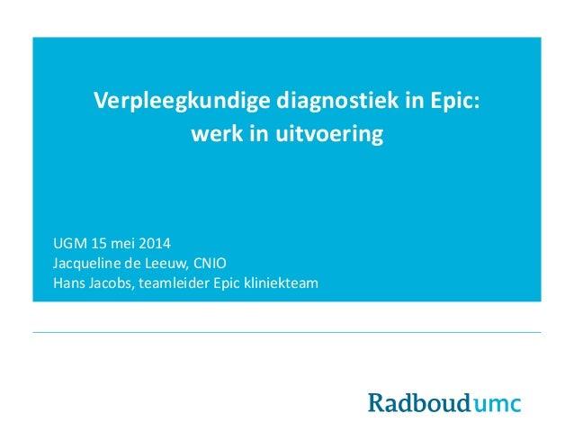 Verpleegkundige diagnostiek in Epic: werk in uitvoering UGM 15 mei 2014 Jacqueline de Leeuw, CNIO Hans Jacobs, teamleider ...
