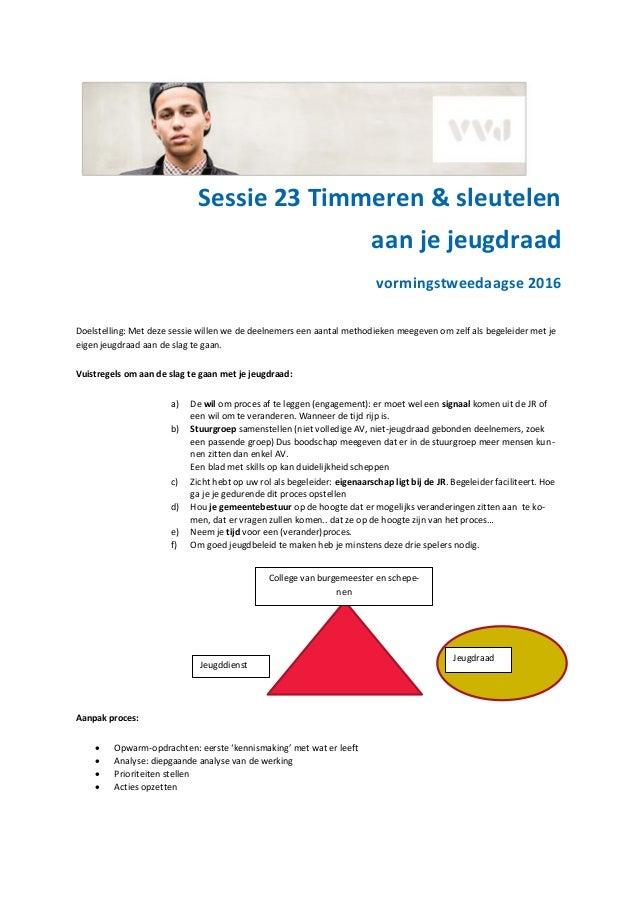 Sessie 23 Timmeren & sleutelen aan je jeugdraad vormingstweedaagse 2016 Doelstelling: Met deze sessie willen we de deelnem...