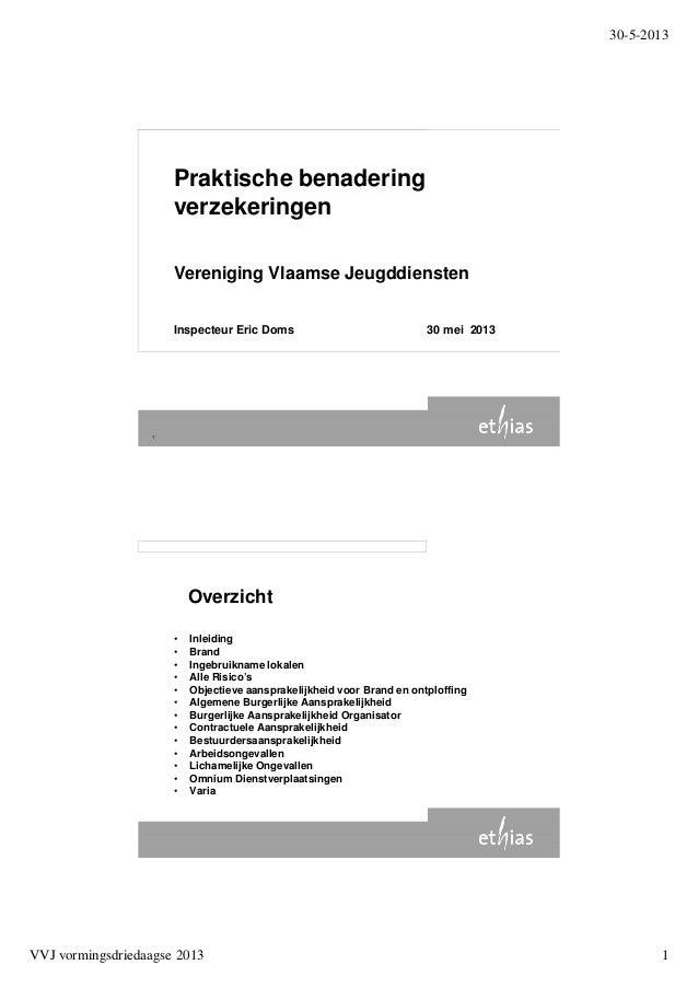 30-5-2013VVJ vormingsdriedaagse 2013 11Praktische benaderingverzekeringenVereniging Vlaamse JeugddienstenInspecteur Eric D...