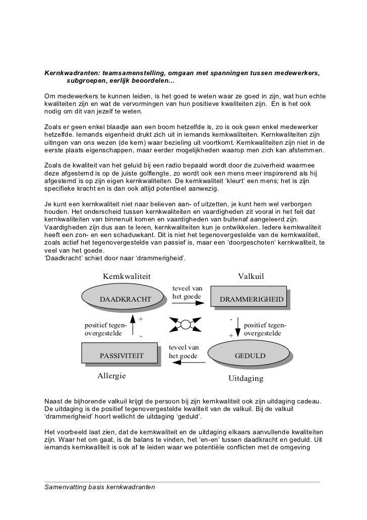 Kernkwadranten: teamsamenstelling, omgaan met spanningen tussen medewerkers,      subgroepen, eerlijk beoordelen...Om mede...