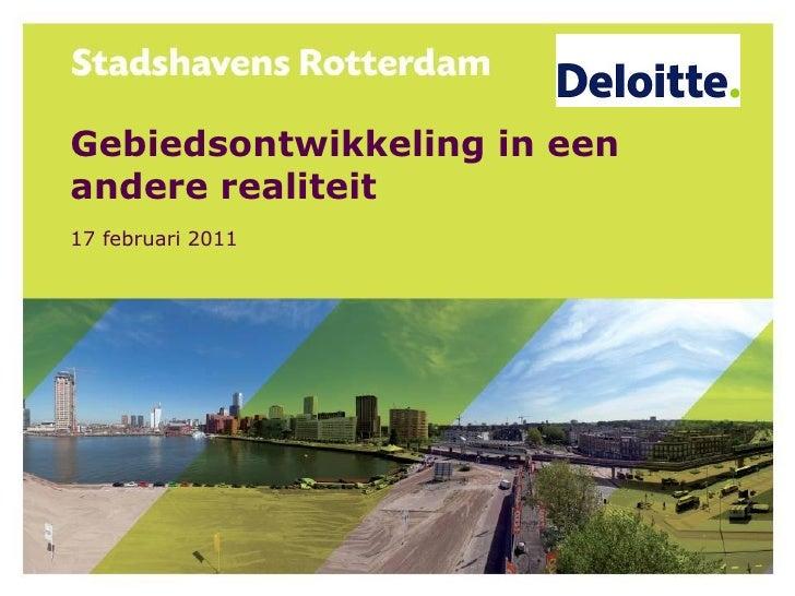 Gebiedsontwikkeling in eenandere realiteit17 februari 2011