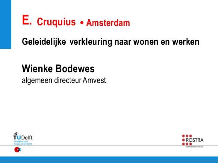 E. Cruquius  AmsterdamGeleidelijke verkleuring naar wonen en werkenWienke Bodewesalgemeen directeur Amvest