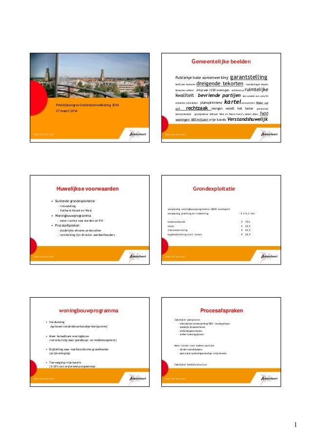 1 Praktijkcongres Gebiedsontwikkeling 2014 27 maart 2014 Gemeentelijke beelden Publiekprivate samenwerking garantstelling ...