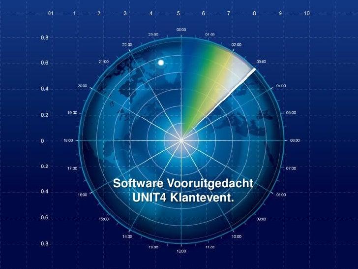 Software Vooruitgedacht   UNIT4 Klantevent.  UNIT4 Klantevent        16 | 04 | 2012   pagina 1/21