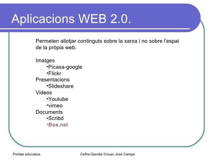 Aplicacions WEB 2.0.  Portals educatius Cefire-Gandia ©Juan José Camps <ul><ul><li>Permeten allotjar continguts sobre la x...