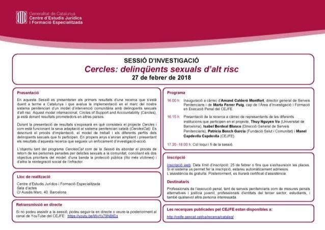 """Sessió d'investigació """"Cercles: delinqüents sexuals d'alt risc """". (27.02.18)"""