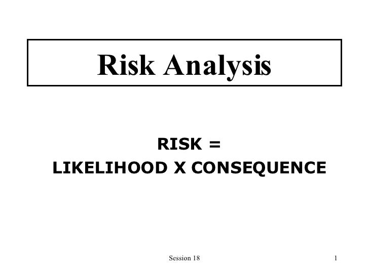 Risk Analysis RISK = LIKELIHOOD X CONSEQUENCE