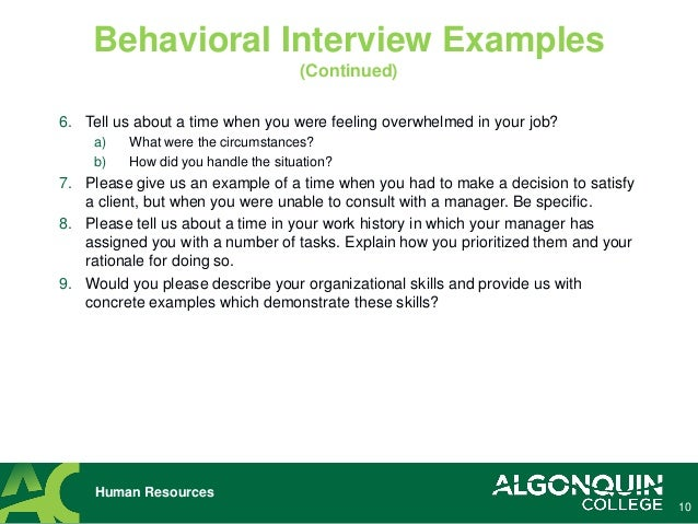 9 Human Resources Behavioral Interview Examples (Continued); 10.