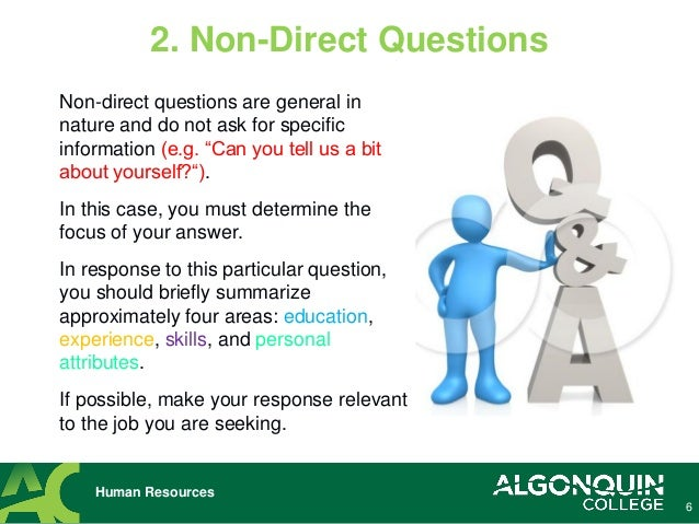 Direct Questions Human Resources; 6.