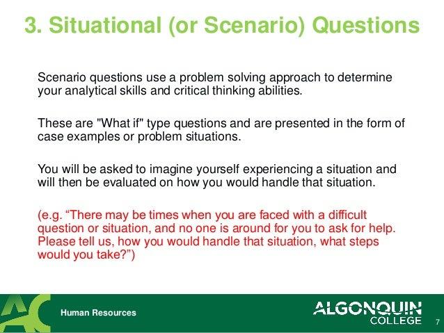 Human Resources; 7. Scenario Questions ...