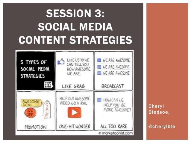 Cheryl Bledsoe, @cherylble SESSION 3: SOCIAL MEDIA CONTENT STRATEGIES
