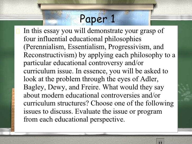 Essentialism educational philosophy essay