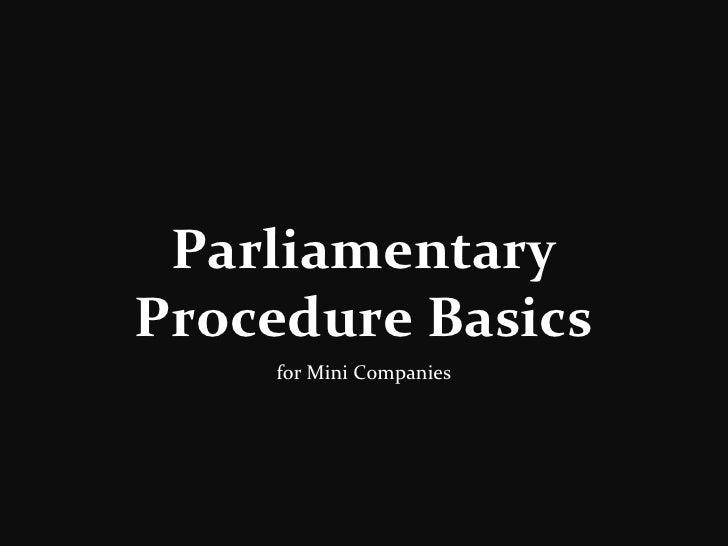 Parliamentary Procedure Basics for Mini Companies