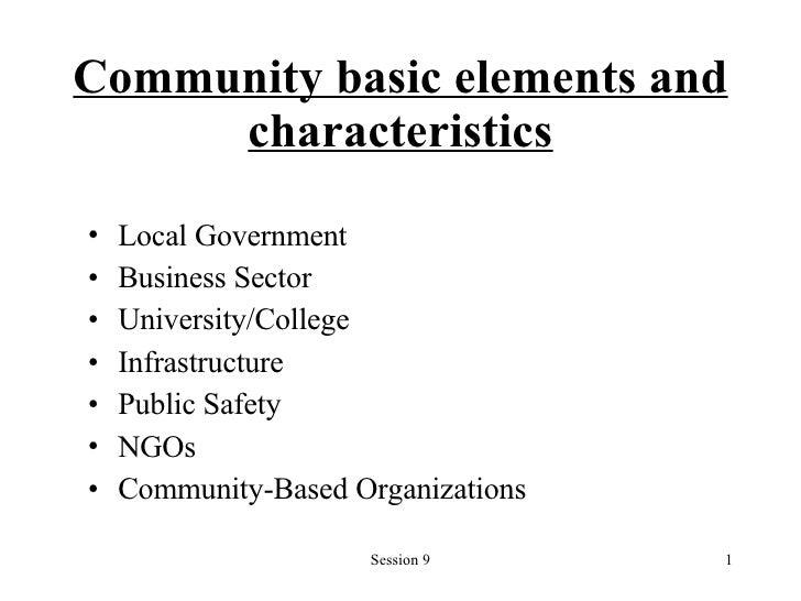 Community basic elements and characteristics <ul><li>Local Government </li></ul><ul><li>Business Sector </li></ul><ul><li>...