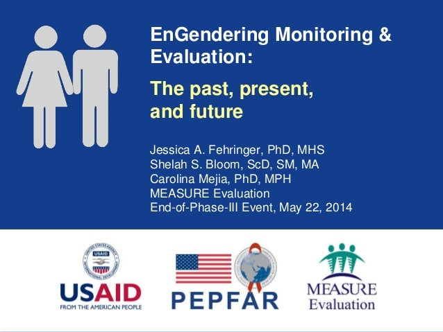 EnGendering Monitoring & Evaluation: Jessica A. Fehringer, PhD, MHS Shelah S. Bloom, ScD, SM, MA Carolina Mejia, PhD, MPH ...