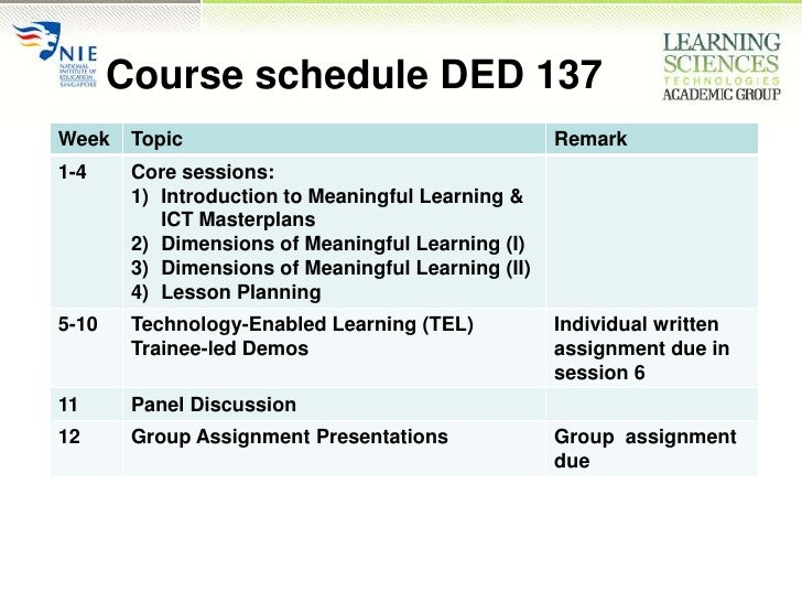 Course schedule DED 137<br />