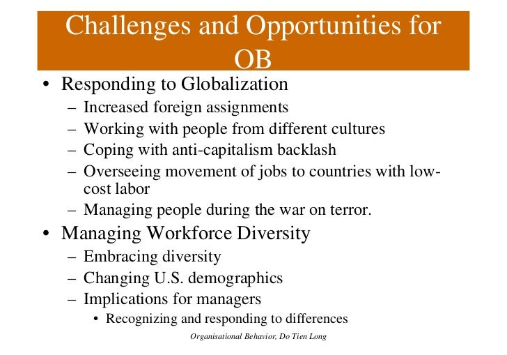 challenges and opportunities of organizational behavior Globalization and organizational behavior the term globalization has been a buzzword now for many challenges are present in all forms of management and business.