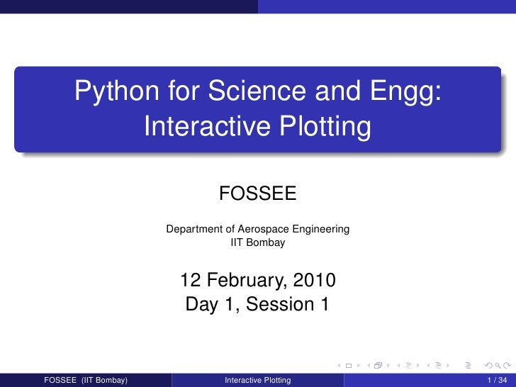 Python for Science and Engg:            Interactive Plotting                                  FOSSEE                      ...