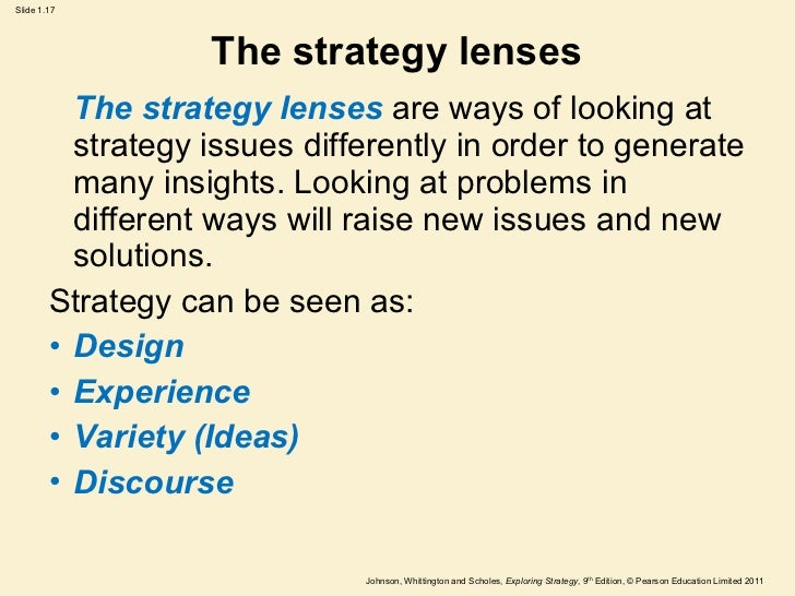 strategy lenses Using the three strategy lenses johnson and scholes suggested that there is no single correct approach to strategy development.