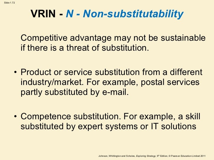 vrin model In 1995, in his later work 'looking inside for competitive advantage' barney has introduced vrio framework, which was the improvement of vrin model vrio analysis stands for four questions that ask if a resource is: valuable rare costly to imitate and is a firm organized to capture the value of the resources.