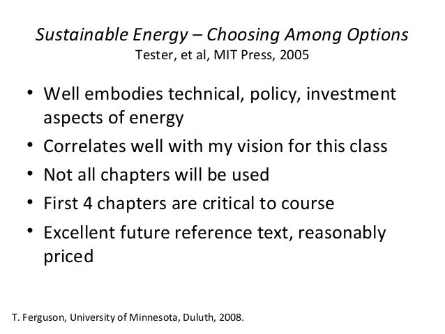 sustainable energy choosing among options solution manual pdf
