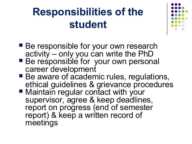 Write the responsibilities of a good student