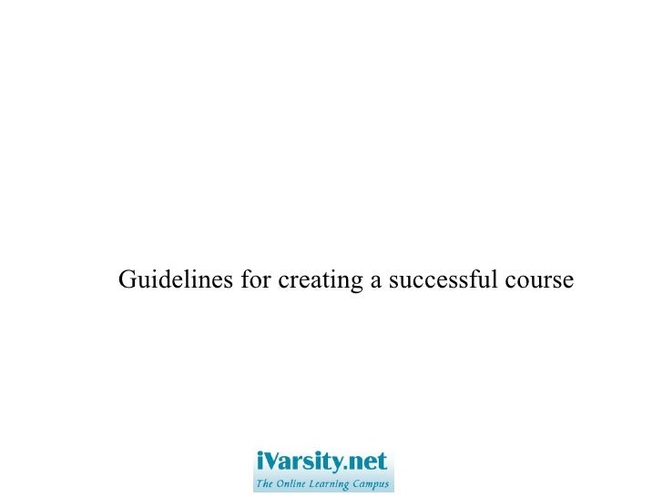 Guidelines for creating a successful course
