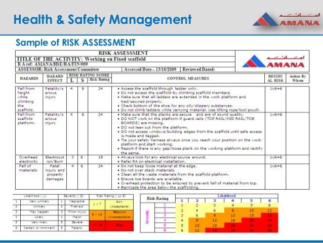 Health U0026 Safety Management Sample Of RISK ASSESSMENT ...