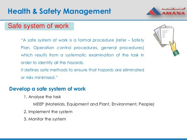Safe system of work example hse.