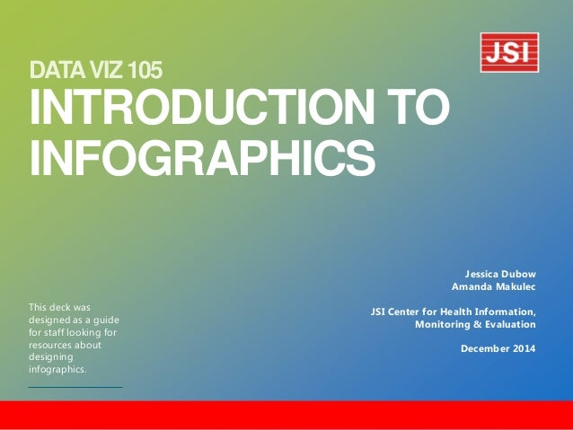 DATA VIZ 105 INTRODUCTION TO INFOGRAPHICS  This deck was designed as a guide for staff looking for resources about designi...