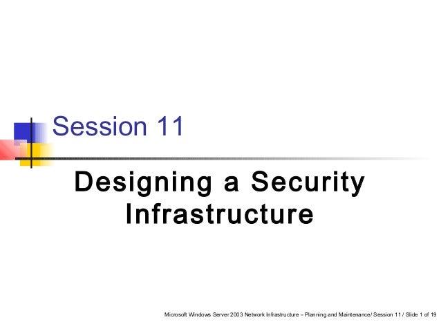 Microsoft Windows Server 2003 Network Infrastructure – Planning and Maintenance/ Session 11 / Slide 1 of 19 Session 11 Des...
