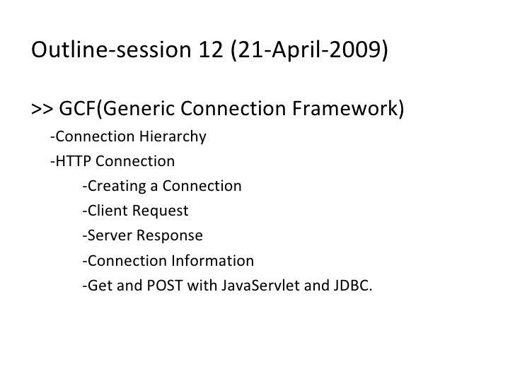Session12 J2ME Generic Connection Framework
