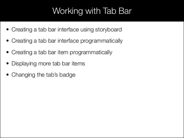 Session 13 - Working with navigation and tab bar
