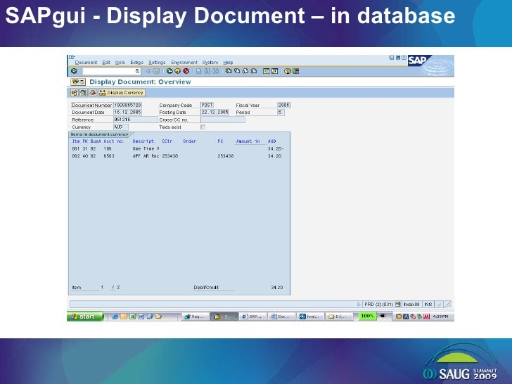 SAPgui - Display Document – in database