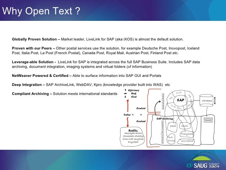Why Open Text ? Globally Proven Solution –  Market leader, LiveLink for SAP (aka iXOS) is almost the default solution.  Pr...