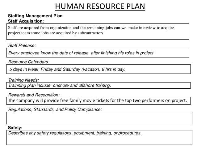 18 HUMAN RESOURCE PLAN Staffing Management Plan Staff