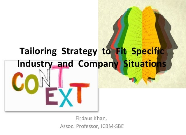 Tailoring Strategy to Fit Specific Industry and Company Situations Firdaus Khan, Assoc. Professor, ICBM-SBE