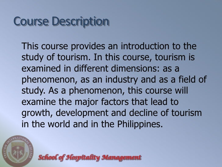 Terminologies in tourism industry