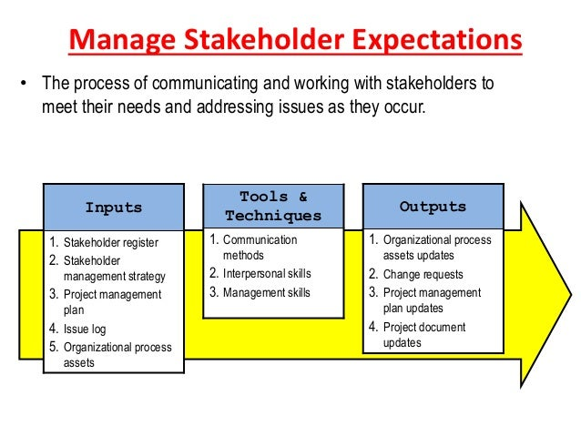 stakeholder expectations Stakeholder management is a critical component to the successful delivery of any project, programme or activity stakeholder management creates positive relationships with stakeholders through the appropriate management of their expectations and agreed objectives.