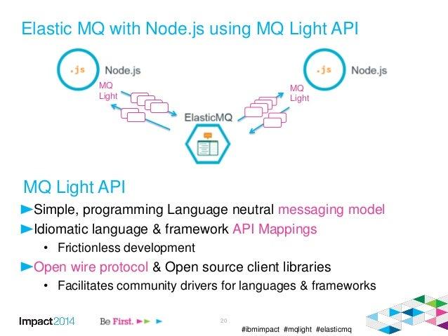 #ibmimpact #mqlight #elasticmq Elastic MQ with Node.js using MQ Light API 20 MQ Light MQ Light Simple, programming Languag...