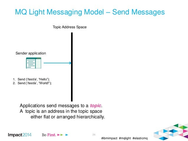 #ibmimpact #mqlight #elasticmq 26 MQ Light Messaging Model – Send Messages Applications send messages to a topic. A topic ...