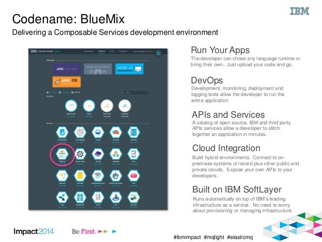 #ibmimpact #mqlight #elasticmq Codename: BlueMix Delivering a Composable Services development environment Run Your Apps Th...