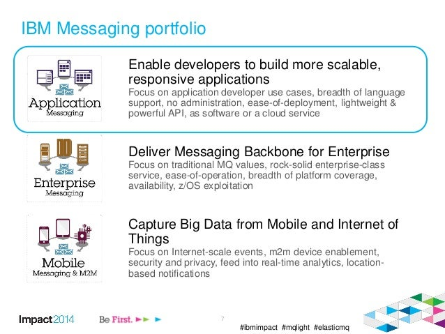 #ibmimpact #mqlight #elasticmq IBM Messaging portfolio Enable developers to build more scalable, responsive applications F...